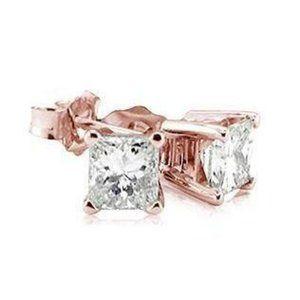 2 Carat Princess Diamonds Earrings Pair Pink Rose